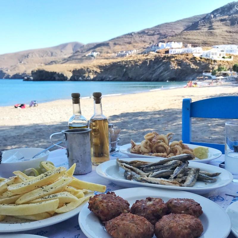 spécialités grecques sur la plage